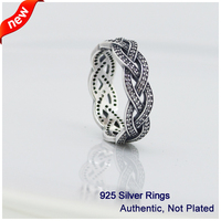 Braided Ring with Cubic Zirconia Compatible with European DIY Jewelry 100% 925 Sterling Silver Rings for Women
