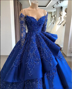 Image 2 - Ball Gown Long Sleeve Royal Blue Prom Dresses with Detachable Skirt Luxury Beaded Chic Long Evening Dress Special Occasion Gowns