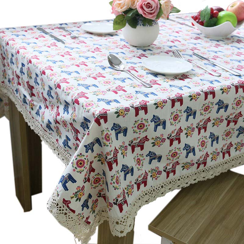 Lovely Small Horse Thick Linen / Cotton Elegant Tablecloth Cheap Lace Table  Cloth High Quality Napkins