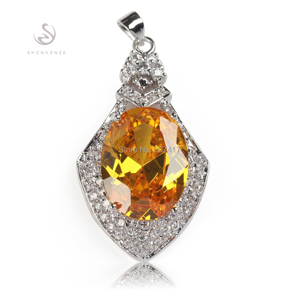 Classic yellow Cubic Zirconia fashion Punk Silver Plated cute Recommend Best Sellers Pendants R655