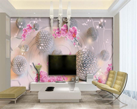 Beibehang Wallpaper For Walls 3 D Hanging On The Wall Interior Art Floral Art Ball Back