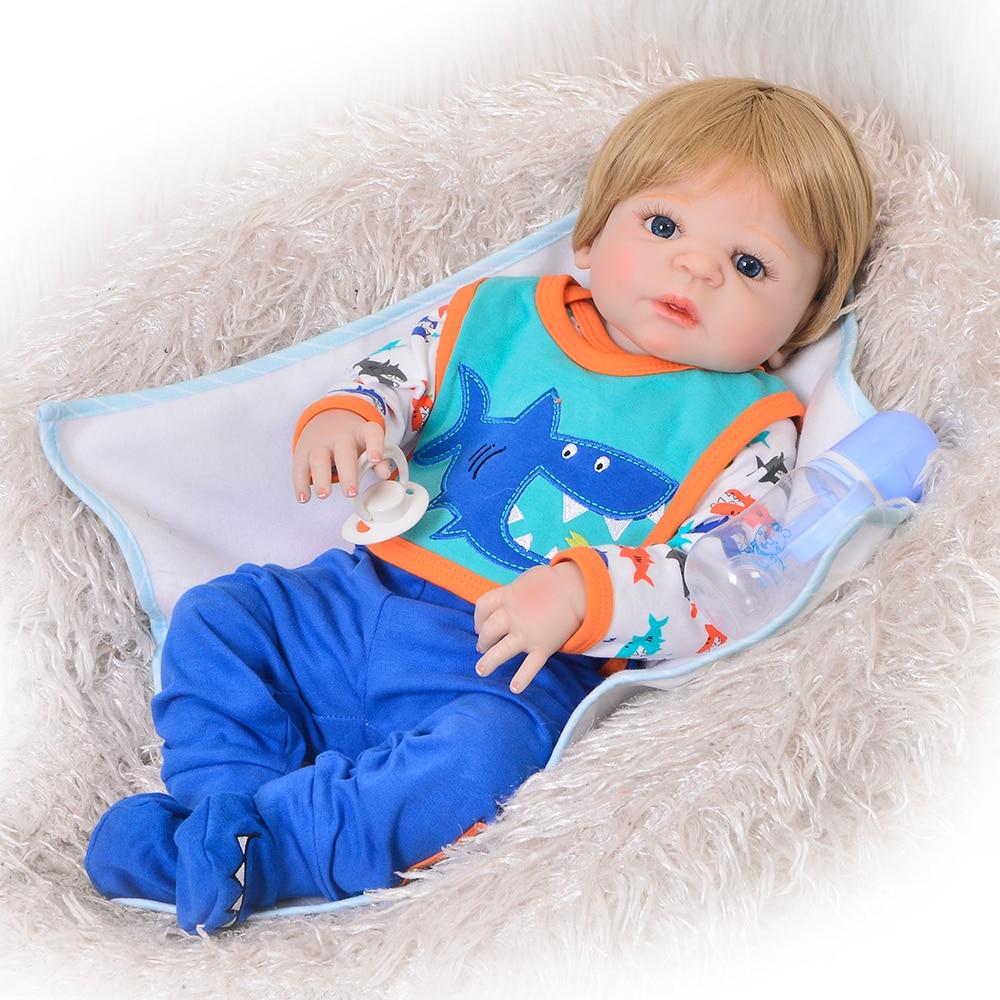 Reallooking 23 57 cm Reborn Baby Boy Dolls Full Body Silicone Vinyl Lovely Reborn Dolls For
