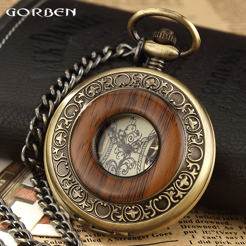 Wooden Circle Vintage Steampunk Mechanical Pocket Watch With Chain Hand Wind Skeleton Bronze Necklace Clock Women Men Xmas Gift vintage bronze steampunk snitch ball quartz pocket watches with pendant necklace chain children kids best xmas gift