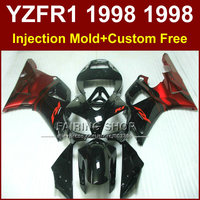 Glossy black red Injection molding motorcycle fairings kit for YAMAHA 1998 1999 YZFR1 YZF R1 YZF1000 98 99 fairing parts U8KI