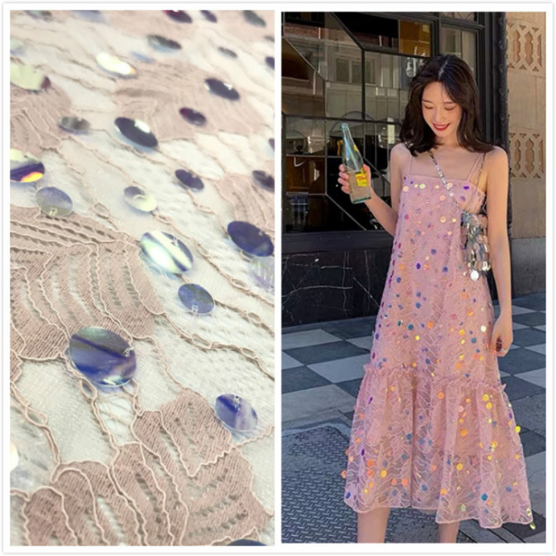 1yard 18MM Sequin Lace Fabric For Spring And Summer Women's Dress Costume Lace Fabric