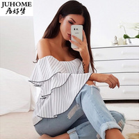 Women Sexy Ruffle Blouses Slash Neck Off Shoulder Butterfly Long Sleeve Casual Tops Shirts Blue White