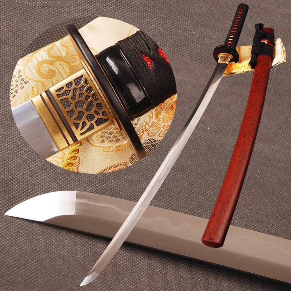 Plié En Acier Trempé Clay épée de samouraï Katana Pleine Saveur 32768 Couches hamon Lame À La Main Sharp Japonais Espada Peut Couper Bambou
