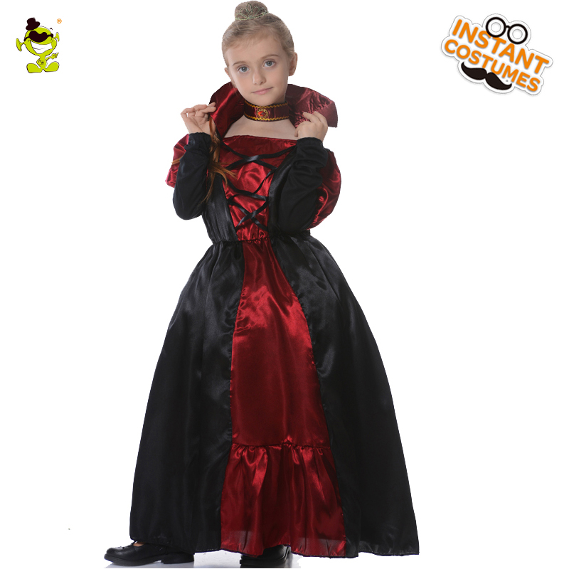 Kids Girls Honor Princess Costumes Medieval Queen Performance Clothing Halloween Masquerade Party Elegant Beauty Cosplay Dress