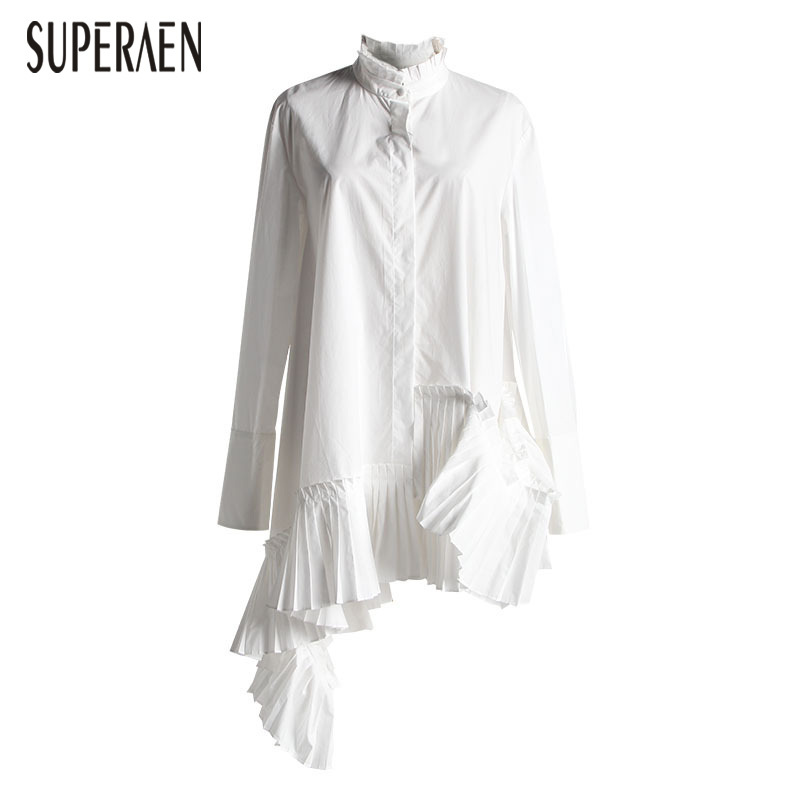 SuperAen New Fashion Shirt Female Long Sleeve Stand Collar Women Blouses and Tops Spring 2019 Europe