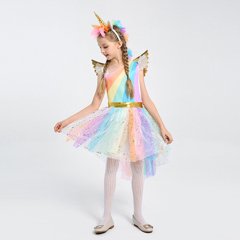 все цены на Girl Unicorn Fancy Dress Rainbow Sequined Tutu Wedding Party Dress with Hair Hoop Wings Set for Cosplay Costumes 5-12Y онлайн
