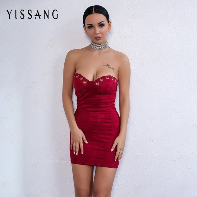 457eaa5911d9 Yissang Suede Strapless Short Dress Women Deep V Neck Bodycon Suede Dresses  Fitness Casual Sleeveless Sexy Nightclub Dress