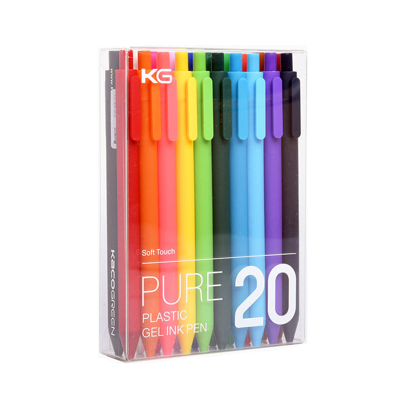 20Pcs/set KACO Kawaii Candy Color Retractable Gel Pens For Kids Adult Colours 0.5mm Cute Colored Ink Neutral Gel Pen Stationery