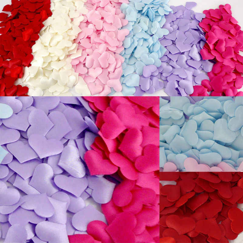 New 100 Pcs Confetti Heart Shape Wholesale Cute Fabric Heart Colorful Wedding Party Decoration Love Gift