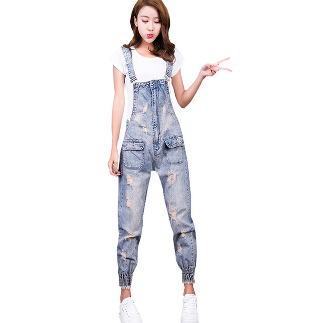 656e6ae91a3b Women Jumpsuit Denim Overalls Ripped Pockets Jumpsuit Jeans Full Length Female  Womens Overalls Fashion Rompers Casual Elegant