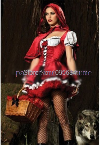 Free Shipping New Laides Red Ridding Hood Fancy Dress Costume Plus