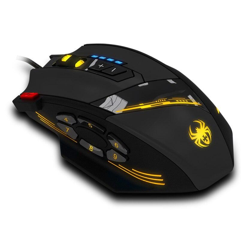 Лидер продаж, надежная игровая мышь Zelotes с программируемыми кнопками, светодиодный USB Оптический игровой мышь, мышь 4000 DPI A