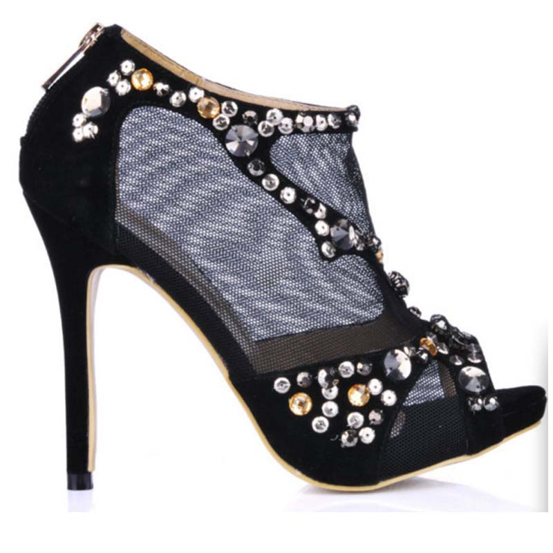 women fashion high heels open top summer pumps colorful rhinestone breathable mesh dress shoes ankle booties peep toe shoes
