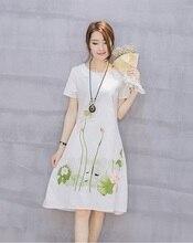 27999e4af Saiqigui Summer Dress Plus Size Short Sleeve White Women Dress Casual  Cotton Linen Dress Lotus Printing