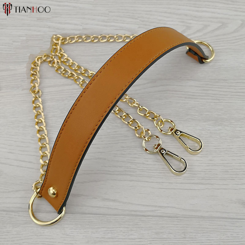 Fashion 110cm Leather Metal Chain Shoulder Strap Women Crossbody Handbag Chain Replacement Golden Bag Strap Accessories light silicone handbag w chain red golden