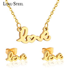 Lover's Jewelry Gift Stainless Steel Jewelry Sets Letter Love Note Pendants Necklaces Fashion Necklace Earring Set Bijoux