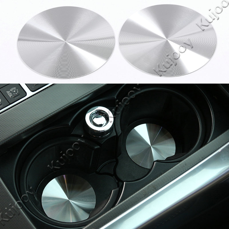 2Pcs Chrome Silver Aluminium Car Water Cup Holder Pad Trims Drinks Holders Mat Stickers for For Land Rover Series