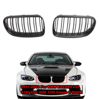 For BMW E92 E93 LCI 318i 320i 328i 335i Coupe Mattle Black Double Line Front Kidney Grille Grill Radiator Grilles 2011 2012 2013