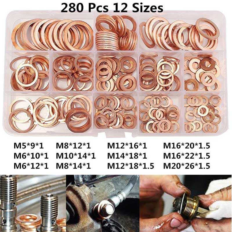 280Pcs/Set Seal Assortment Set Copper Washer Gasket Nut Oil Copper Rings Discs LO88280Pcs/Set Seal Assortment Set Copper Washer Gasket Nut Oil Copper Rings Discs LO88