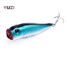 YUZI 1pc Fishing Topwater Lures 6 Colors Floating Popper Lure Hooks Crank Baits Tackle Tool 9cm 14g fishing wobblers