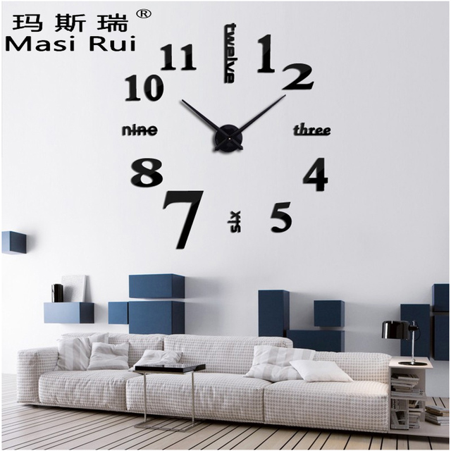 2017 New Arrival 3d Real Big Wall Clock Quartz Fashion Wall Watch Stickers  Rushed Mirror Diy