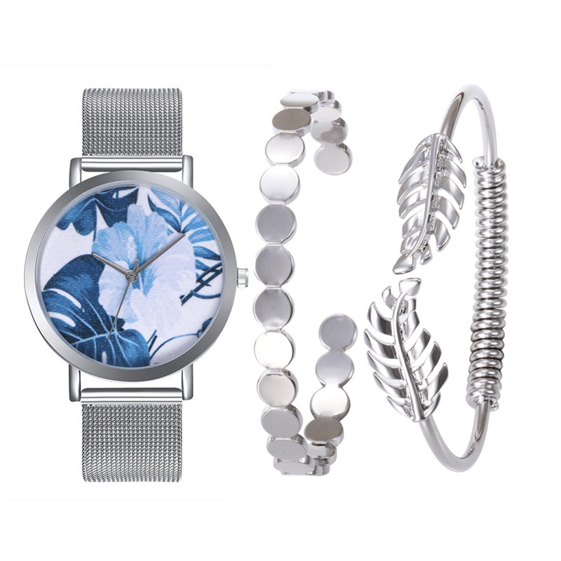 FUNIQUE 2/3pcs Tropical Leaves Womens Wristwatch Ladies Dress Bracelet Clock Bangle Gift Set Minimalism Women Steel Band Watch