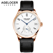 AGELCOER Swizerland Luzern Antique Watch Gold plated Wristwatch Men Top Brand Luxury Date Male Clock Dive