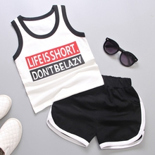 Summer Baby Boys Sleeveless Letter Tank Vest Tops + Casual Shorts Tracksuits Homewear Outfits 2Pcs Suits Kids Clothing Sets