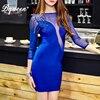 HEGO 2016 New Blue Rivet Studded Mesh Sleeve Backless Mini Bandage Dress Sexy Club Party Dresses