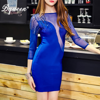 HEGO 2016 New Blue Rivet Studded Mesh Sleeve Backless Mini Bandage Dress Sexy Club Party Dresses