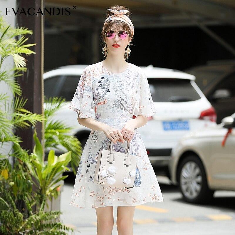 Designer Coréenne Floral Mignon Vintage Femmes Robes Mousseline Élégant Volants Soie De D'été Tunique Robe Blanc 2018 Courte Taille En La Plus vTwAqnzSx7