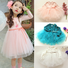 2016  Spring and Autumn models Princess Korean Temperament dresses quality cute baby girls kids clothes