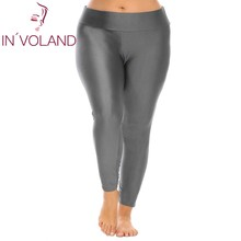 IN VOLAND Large Size Women Leggings XL 4XL Fold Over Waist Solid Large font b Ladies
