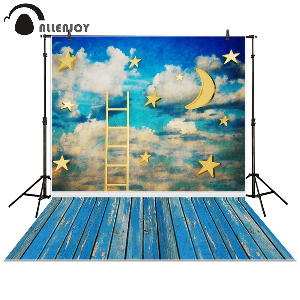 Allenjoy photography backdrop Moon star cloud wood ladder blue sky baby shower children background photo studio photocall send rolled sunny sky backdrop vintage white cloud blue sky printed fabric photography background f0150