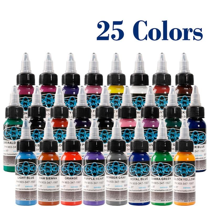 10Pcs Tattoo Ink Fusion Tattoo Inks 10 Colors Set 1 Oz 30ml/Bottle Tattoo Pigment Kit For 3D Makeup Beauty Skin Body Art.