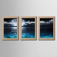 3 יחידות ירח תאורת קיר תמונת הדפסי בד נוף ים ציור ציור דקורטיבי אמנות ציור קיר לסלון בית