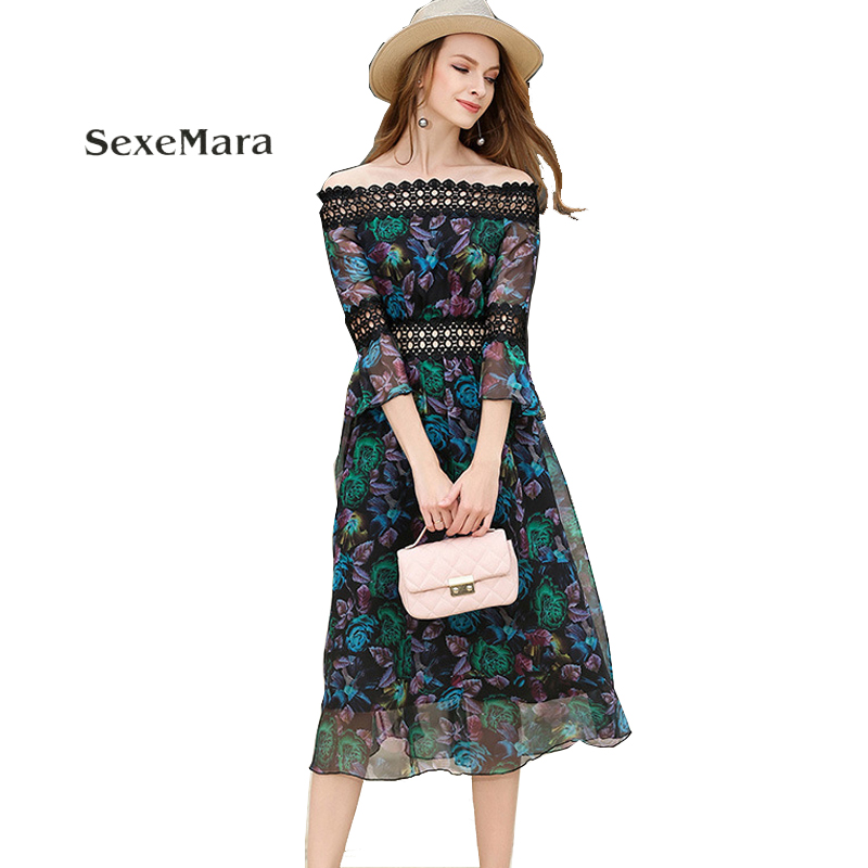 2017 summer Europe and new womens clothing sexy lace word collar dress exquisite print dress