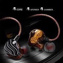 REHIMM Dual Dynamic Bobina fone de Ouvido Música Esporte Fone de ouvido de Telefone Fio Estéreo de Alto-Falante Baixo Pesado 2-Fones de Ouvido Controle de MIC microfone