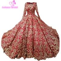 Dubai Luxury Long Sleeves Red Navy Blue Wedding Dresses High End Custom Bling Sexy Bridal Trian
