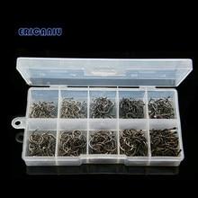 500pcs Carbon Steel Carp Fishing Jig Hooks with Barbs Hole Fly Fishing Tackle Box 3# -12# 10 Sizes Pesca Fish Hooks 526