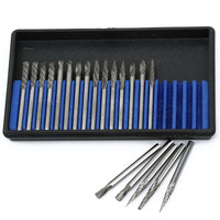 New 20Pcs Set 3x3mm Tungsten Steel Solid Carbide Burrs For Dremel Rotary Burrs Tool Drill Die