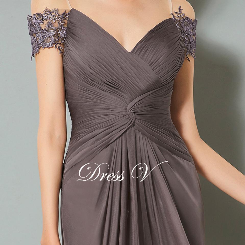 95c0770f1504 Dressv grigio scuro lungo chiffon vestito da sera elegante v neck backless  una linea increspato da sposa partito formale