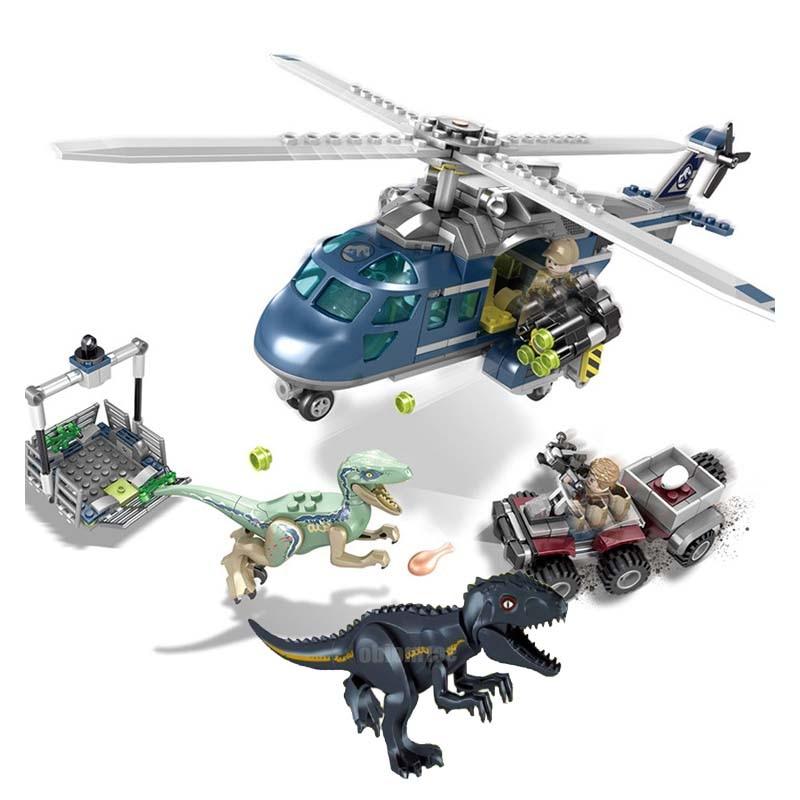 433Pcs Jurassic World Blue Helicopter Pursuit Bike Velociraptor Model Building Blocks Dinosaur Toy Bricks Compatible Legoings