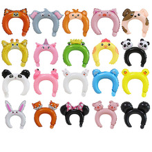 10pcs/lot Cute Animal Headwear Headband Foil Balloon Frog Panda Fox Baby Shower Balloons Happy Birthday Wedding Party Decoration
