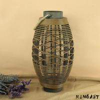 Big Rattan & Wood Weaving Lantern Retro Candle holder Antique Wedding Candleholder Home Garden Bar Decorative Bamboo Lantern