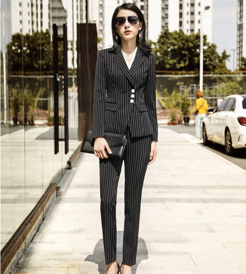 Ufficio E Striped A Ol Stili Vestiti Pantaloni Giacche Righe Dei Donne Di  Signore Striped Elegante Con Moda ... f8d402fc599